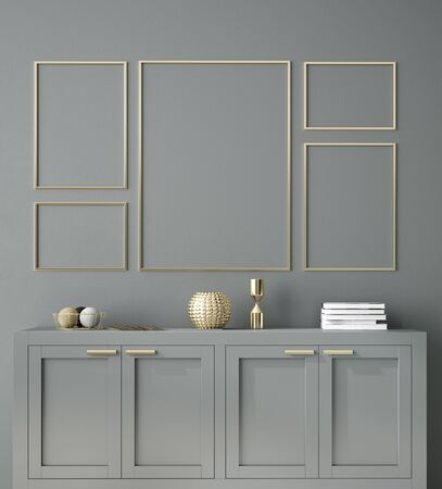 Poster, wall mockup with cabinet and decor in interior background, 3d rendering