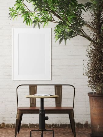 Mockup poster frame in living room loft in industrial style, 3d render