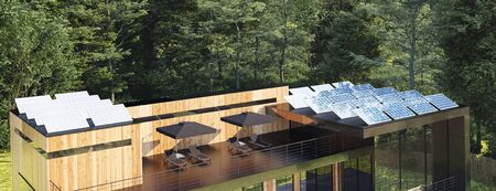Modern house in forest with solar panels on the roof, 3d render