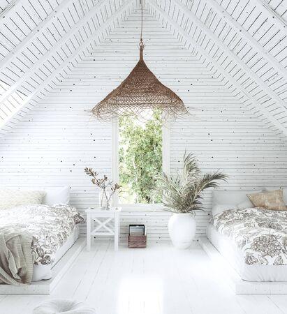 White cozy tropical bedroom interior in attic, Scandi-Boho style, 3d render