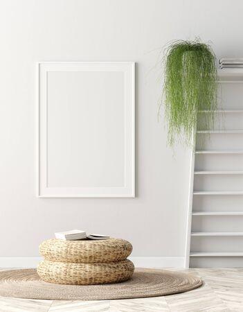 Mock up poster frame in interior background, Scandinavian home, 3d render Banco de Imagens