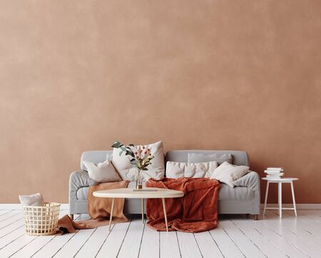 Cozy Scandinavian interior with sofa and minimal decor,3d render Stock Photo