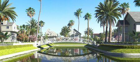 Tropical beach houses, Coastal style villas, 3d render