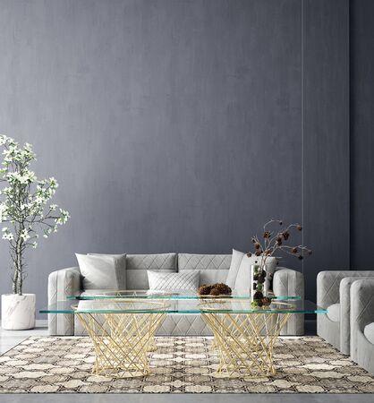 Cozy industrial home interior, wall mock up, 3d render