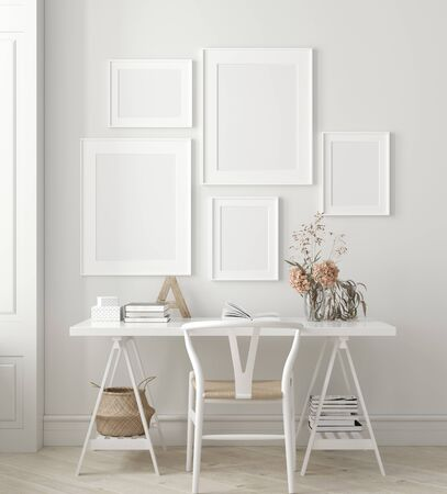 Poster, wall mock up in home interior background, home office, Scandinavian style, 3d render