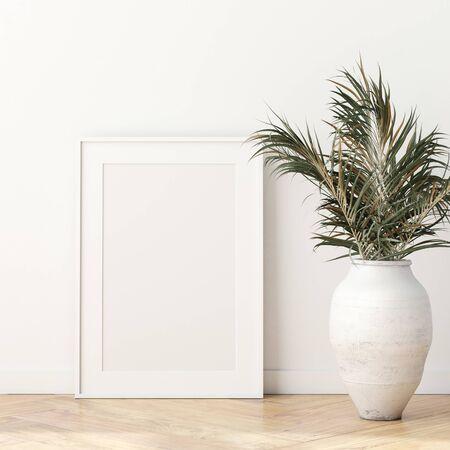 Mock up poster frame in modern living room interior. Interior Scandinavian style. 3d render