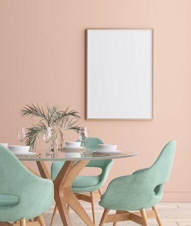 Wall, poster mock up in dining room, minimalist interior, 3d render Reklamní fotografie