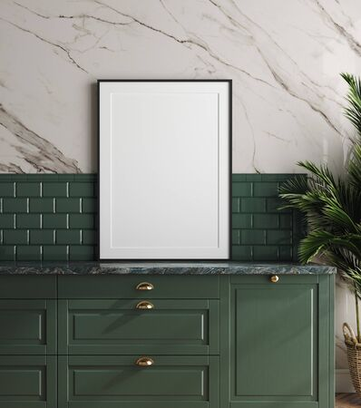 Mockup frame in dark green kitchen with marble wall, 3d render