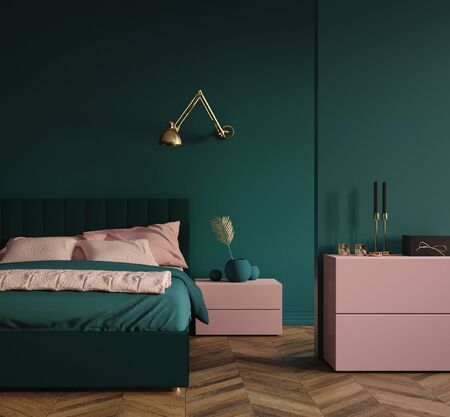 Modern dark green bedroom interior with pink elements and golden palm branch in vase, 3d render