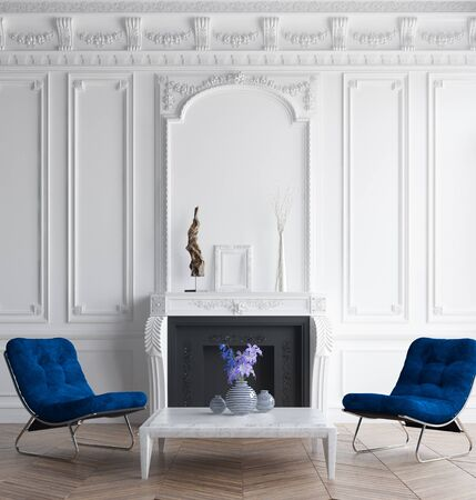 Luxury classic interior with dark blue armchair, concept classic blue color of the year 2020 in interior, 3d render