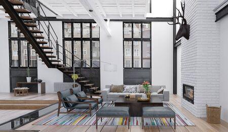 Living room in loft apartment, 3d render