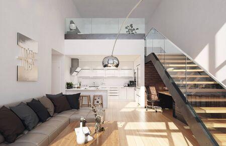 Modern living room in loft apartment, 3d render Stock Photo