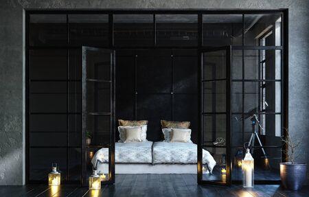 Black bedroom in loft, industrial style, 3d render