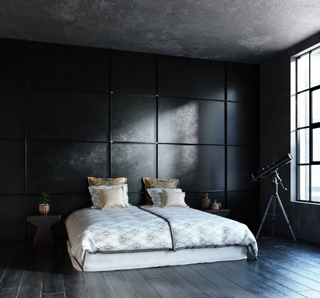 Black bedroom in loft, industrial style, 3d render 版權商用圖片 - 136549647