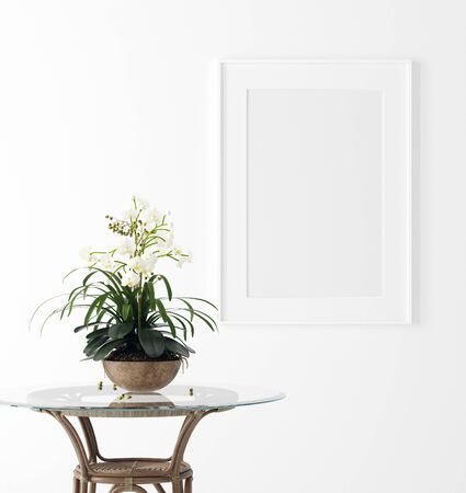 Mock up poster frame in interior background with flower on table, 3d render Stock Photo