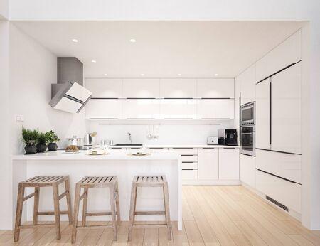 Scandinavian modern kitchen, minimalist interior design, 3d render Stock Photo