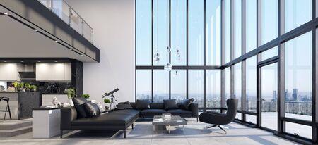 Luxury modern penthouse interior with panoramic windows, 3d render 版權商用圖片 - 136549669