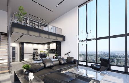 Luxury modern penthouse interior with panoramic windows, 3d render 版權商用圖片 - 136549671