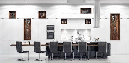 Luxury white modern kitchen interior, 3d render 版權商用圖片 - 136549673