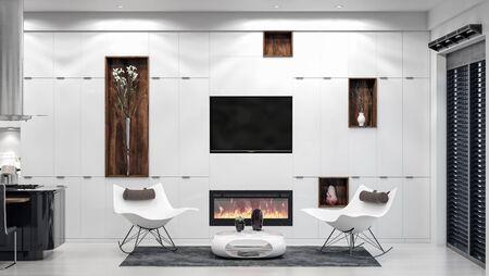 Modern white home interior, living room area, 3d render 免版税图像 - 136549674