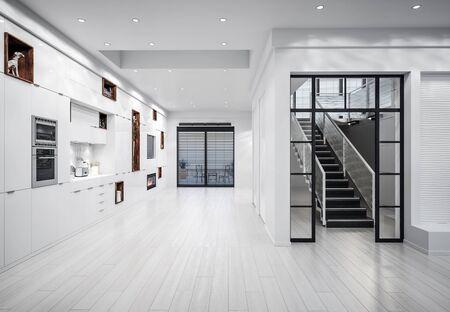 Luxury white modern kitchen interior, 3d render