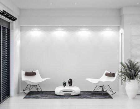 Modern white home interior, living room area, 3d render