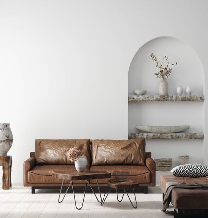 Wall mock up in Scandi-boho home interior with retro brown leather furniture, 3d render