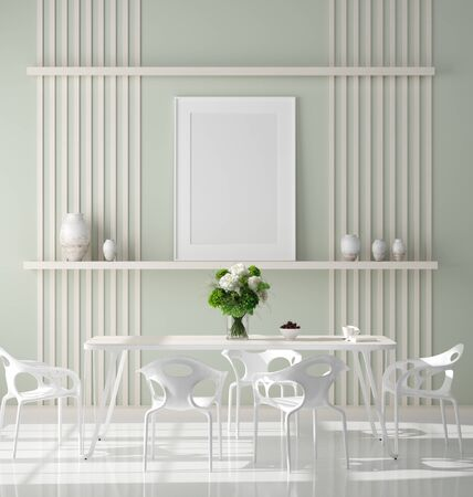 Poster mock up in modern dining room, Scandinavian style, 3d render Stock Photo