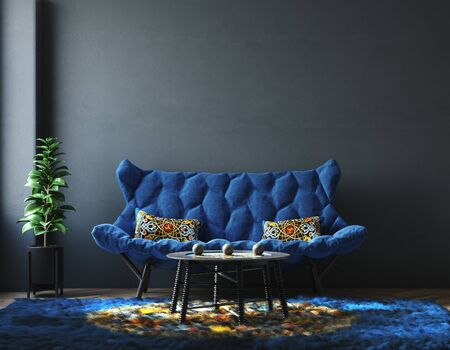 Home interior with furniture in trendy blue color, Classic Blue color of the Year 2020, 3d render Stock Photo