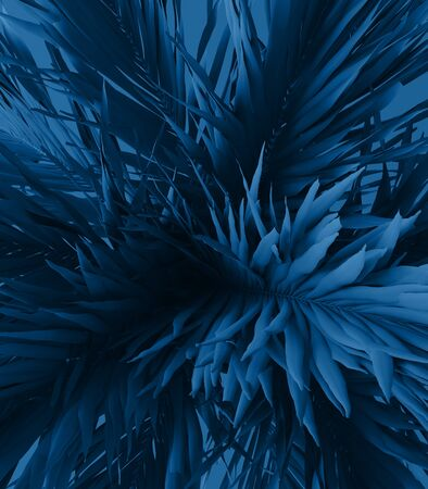 Unusual blue palm, Classic Blue color of the Year 2020, 3d illustration 免版税图像