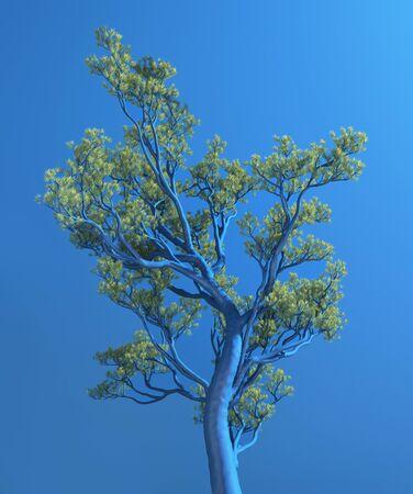 Unusual blue tree, 3d illustration Stock Photo