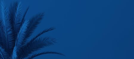 Unusual blue palm, Classic Blue color of the Year 2020, 3d illustration 版權商用圖片 - 136549718