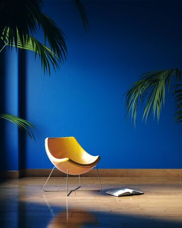 Yellow chair in dark blue room, Classic Blue color of the Year 2020 in interior, 3d render 免版税图像 - 136549719