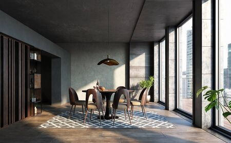 Dining room in loft, industrial style, 3d render 免版税图像 - 136549722