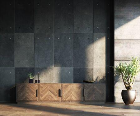 Living room loft in industrial style, 3d render Stock Photo