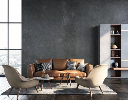 Living room interior in loft, industrial style, 3d render 免版税图像 - 136549730