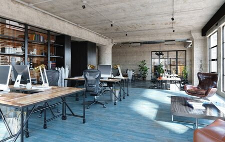 Office interior in loft, industrial style, 3d render 版權商用圖片 - 136549737