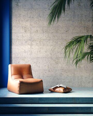Armchair in modern loft interior,3d render 免版税图像 - 136549756