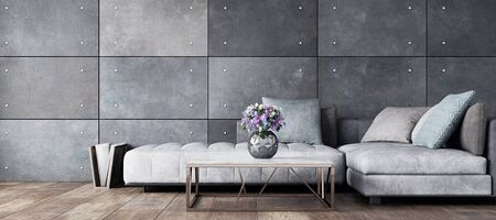 Living room interior in loft, industrial style, 3d render Stock Photo