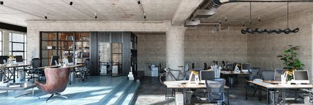 Office interior in loft, industrial style, 3d render 免版税图像 - 136549760
