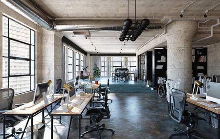 Office interior in loft, industrial style, 3d render