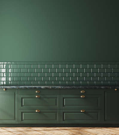 Empty dark green kitchen interior, wall mockup, 3d render