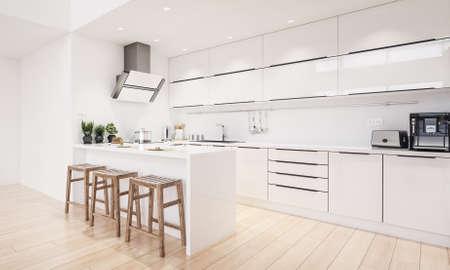 Scandinavian modern kitchen, minimalist interior design, 3d render 免版税图像