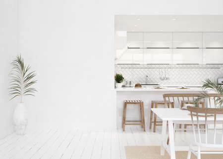 White modern kitchen interior, Scandinavian style, 3d render 免版税图像