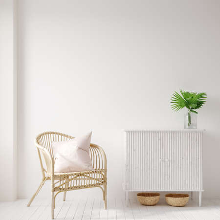 Home interior background with wicker furniture and decor, empty white wall mockup, 3d render 免版税图像