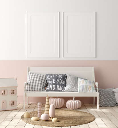 Mock up poster in children bedroom interior background, Scandinavian style, 3D render