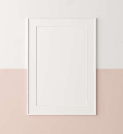 Mockup poster frame close up on wall painted white and pastel pink color, 3d render 免版税图像
