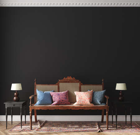 Dark home interior, classic style living room, 3d render