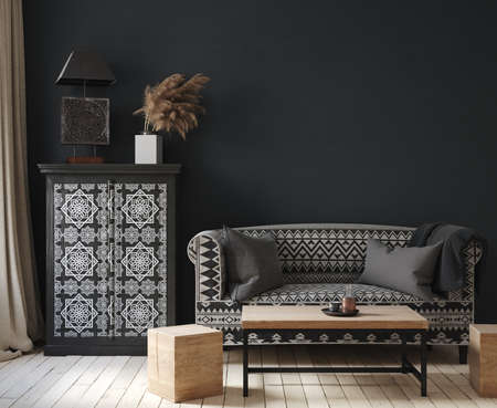Dark home interior, ethnic style living room, 3d render
