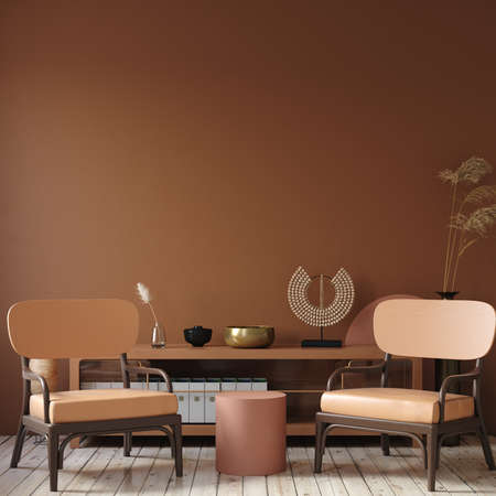 Modern dark interior with commode, chair and decor in terracotta colors, 3d render
